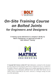 Training Course on Bolting Technology for Engineers and Designers in North America
